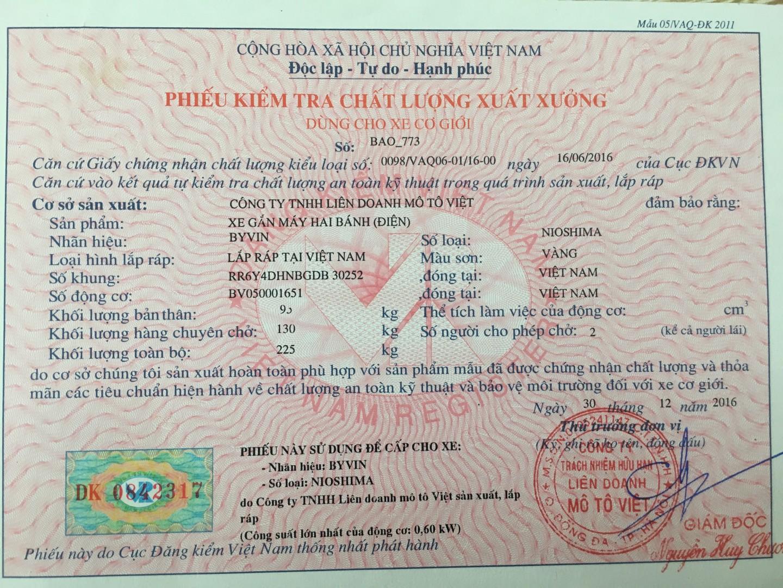 Phiếu đăng kiểm chất lượng - Xe điện Bảo Nam
