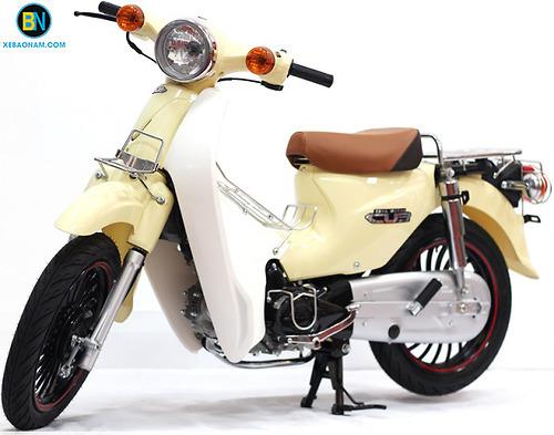 Xe máy Cub 50 JAPAN ĐỘ Lùn Bánh Béo - Màu Sữa