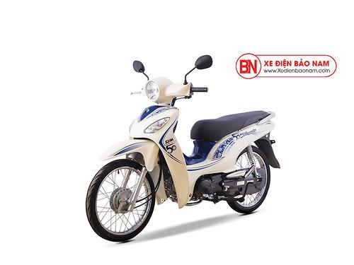 Xe máy Sym Angela 50cc màu trắng xanh